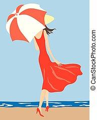나이 적은 편의, 벡터, 삽화, 걷기, 여자, 우산, 억압되어, 호리호리한, 해변