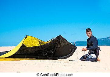나이 적은 편의, 서핑을 하고 있는 kite, 운동 선수