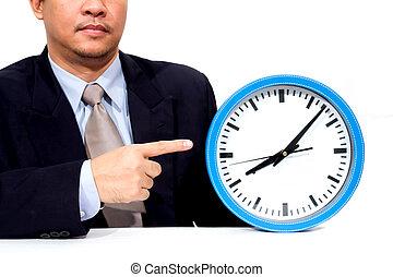 나이 적은 편의, 실업가, 보유, a, 시계
