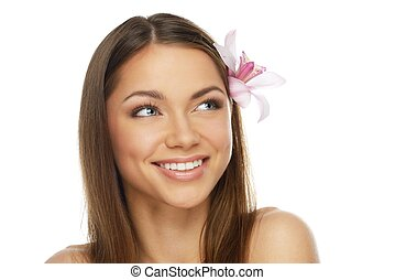 나이 적은 편의, 아름다운, 브루넷의 사람, 여자, 와, 난초, 꽃