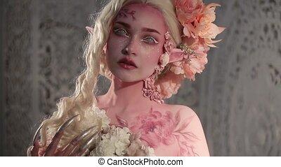 나이 적은 편의, 아름다운, 소녀, elf., 창조, 메이크업, 와..., bodyart