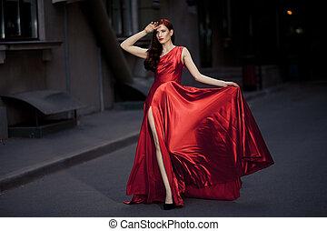 나이 적은 편의, 아름다움, 멋진, 여자, 에서, 빨간 드레스, 옥외