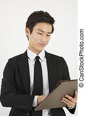 나이 적은 편의, 아시아 사람, 실업가, 와, a, 파일