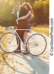 나이 적은 편의, 유행, 사람, 와, 소녀, 와..., 그만큼, 자전거, 옥외