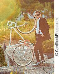 나이 적은 편의, 유행, 사람, 와, 자전거, 옥외