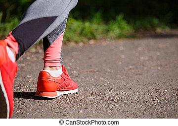 나이 적은 편의, 적당, 여자, hiker, 다리, 에, 숲, 길게 나부끼다