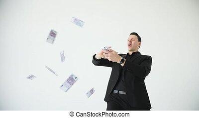 나이 적은 편의, 행복하다, 실업가, 던지는 것, 돈., 대범한, motion., 입신한, 사업, 또는,...