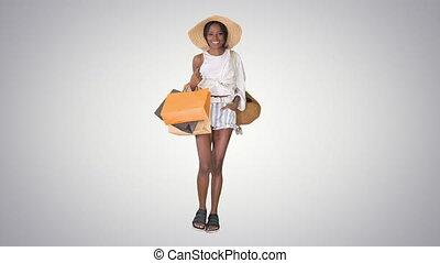 나이 적은 편의, afro, 은 자루에 넣는다, 배경., 쇼핑, 경사, 걷고 있는 여성, 유행