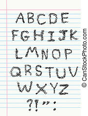 낙서, 알파벳, 통하고 있는, 노트북 종이