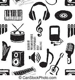 낙서, seamless, 음악, 패턴