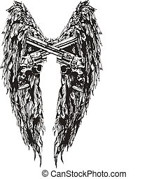 날개, 와..., 총, 디자인