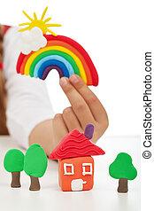 날씬한, 환경, 개념, -, 아이, 손 보유, 다채로운, 은 계산한다, 만든, 의, 찰흙