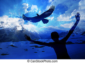 날아서 ...에 이르다, 같은, 자형의 것, 독수리