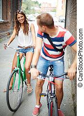 날짜, 통하고 있는, bicycles