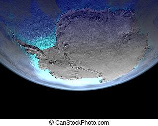 남극 대륙, 통하고 있는, 지구, 에서, 공간
