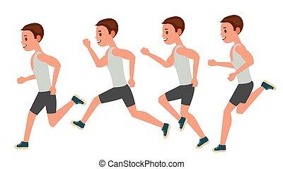 남성, 달리기, vector., 생기, 구조, set., 스포츠, 운동 선수, 적당, character., 마라톤, 길, 인종, runner., 쪽, 보기., sportswear., 조깅, workout., 고립된, 바람 빠진 타이어, 삽화