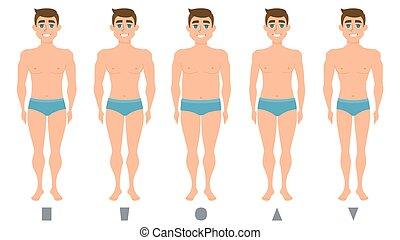 남성 몸, 은 계산한다, 서 있는 사람, 사람, 형체