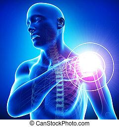 남성, 어깨, 고통, 통하고 있는, 파랑