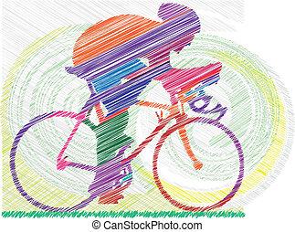 남성, 통하고 있는, a, bicycle., 벡터, illustrat