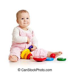 남자가 멋을 낸, 아기, 또는, 아이, 노는 것, 와, 색, 장난감