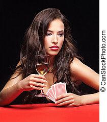 남자가 멋을 낸, 젊은 숙녀, 노름하는, 통하고 있는, 빨간 테이블