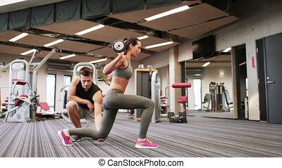 남자와 여자, 와, 바벨, 근육을 구부리는, 에서, 체조