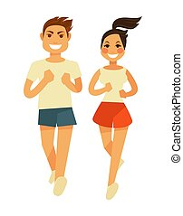 남자와 여자, 조깅, 또는, 스포츠, 달리기, 벡터, 적당 훈련, 아이콘