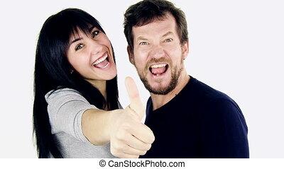 남자와 여자, 행복하다, 위로 엄지손가락