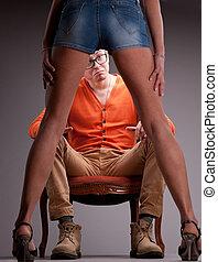 남자, 놀란, 얼마 만큼, 성적 매력이 있는, 여자, 다리