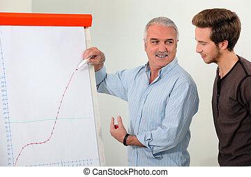 남자, 설명하는, a, 성장 도표