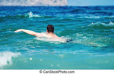 남자, 수영, 에서, 그만큼, sea., 휴가, concept.