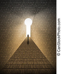 남자, 앞서서, 열쇠구멍, 빛의