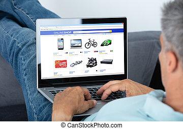 남자, 온라인쇼핑, 통하고 있는, 휴대용 퍼스널 컴퓨터