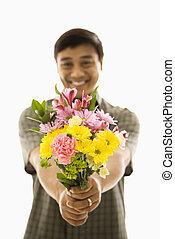 남자, 와, 꽃다발