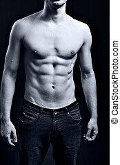 남자, 와, 성적 매력이 있는, 근육의, 찢는, abs