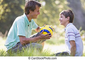 남자, 와..., 젊음 소년, 옥외, 와, 축구 공, 미소