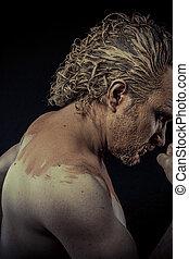 남자, 와, 진흙, 모든 것, 위의, 그의 것, 몸, 적나라한, 개념의, 예술