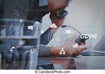남자, 을 사용하여, voip, 헤드폰, 와, 디지털 알약, 컴퓨터, 단미, 똑똑한, 키보드, 개념, 통신, 그것 지원, 외침 센터, 스크린, 문자로 쓰는, 사실상, 아이콘