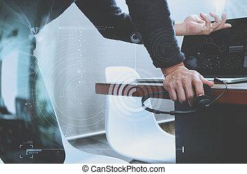 남자, 을 사용하여, voip, 헤드폰, 와, 디지털 알약, 컴퓨터, 단미, 똑똑한, 키보드, 개념, 통신, 그것 지원, 외침 센터, 와..., 소비자 봉사, 도움말 데스크