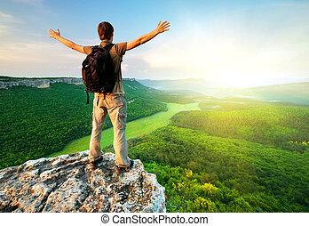 남자, 의 위에, 산
