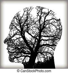 남자, 제자리표, 나무