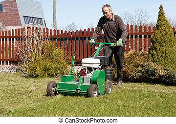 남자, 통풍장치, 잔디, 일