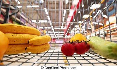 남자, 판매, 개념, 또는, 슈퍼마켓, 사람, 쇼핑, 소비자 중심주의, 쇼핑, -, 손수레, 상점, ...