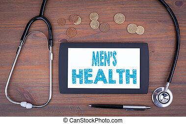 남자, health., 장치, 통하고 있는, a, 나무로 되는 테이블