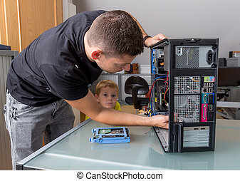 남자, reparierrt, a, 컴퓨터