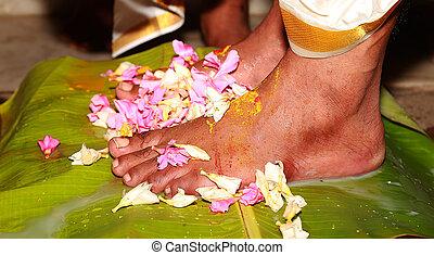 남쪽, 인도 사람, 힌두교, 결혼식, 전통, 신부, 다리, 와, 꽃, 의식