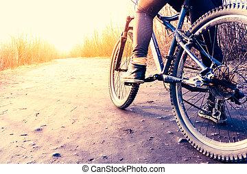 낮은 각 전망, 의, 자전거 타는 사람, 구, 자전거
