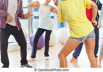 낮은 섹션, 의, 적당 종류, 와..., 교사, 함, pilates, 운동, 에서, 밝은, 방