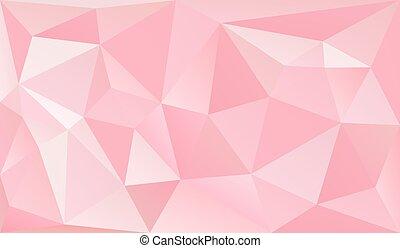낮은, poly, 공상에 잠기는, 분홍색 배경