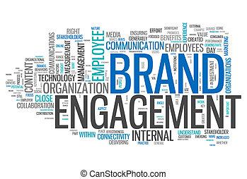 """낱말, 구름, """"brand, engagement"""""""